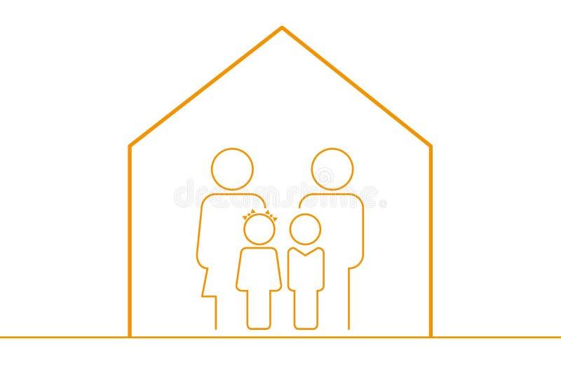 Rodzina Editable wektor W Domu - mieszkanie Kreskowa ikona - royalty ilustracja