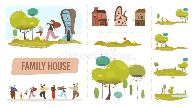 Rodzina farm ustawiona w stylu płaskim Trendy w gospodarstwie ilustracja wektor