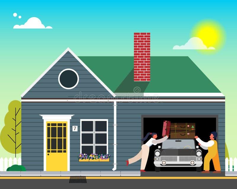 Rodzina iść odpoczywać Ładownicze rzeczy na samochodzie blisko domu r?wnie? zwr?ci? corel ilustracji wektora royalty ilustracja