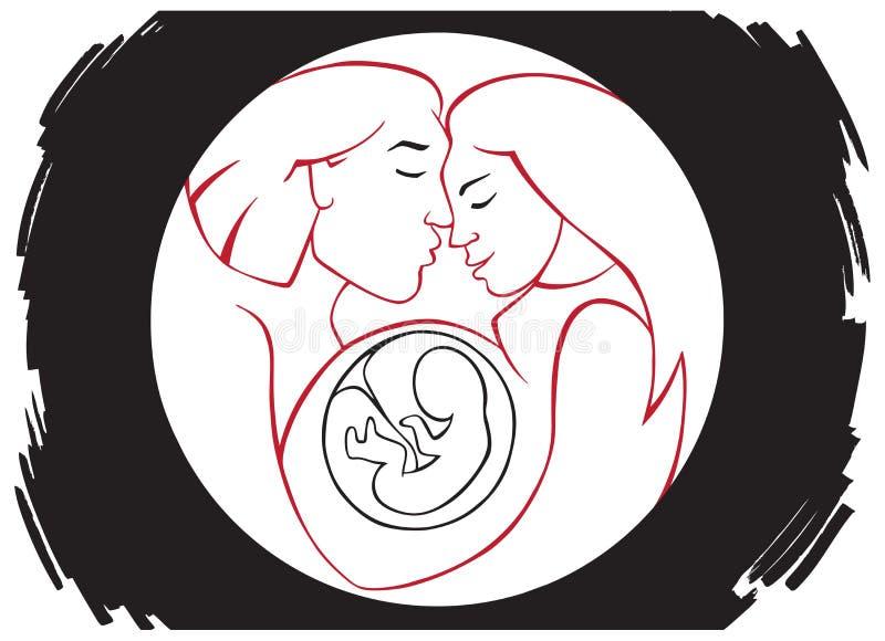 Rodzina i kobieta w ciąży ilustracji