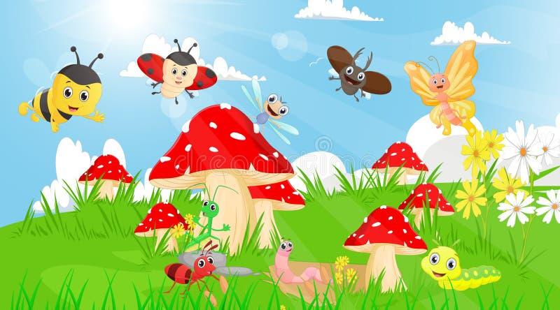 Rodzina insekty w ogródzie z pieczarkami i kwiatami ilustracja wektor