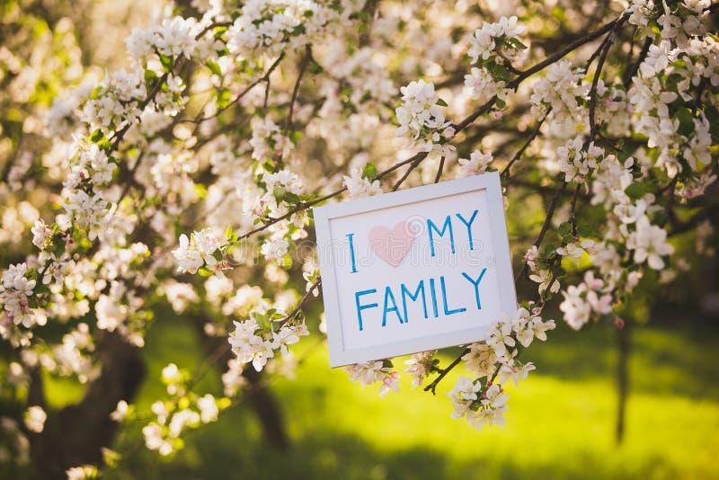 rodzina ja kocham mój Obrazek w kwitnącym wiosna ogródzie obraz stock