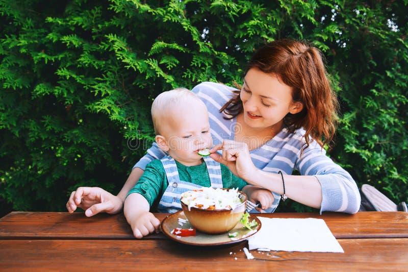Rodzina jarzynowej sałatki na lunchu zdjęcie stock
