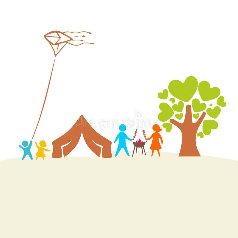 Rodzina jest na wakacje Namiot, grill i natura, ilustracji