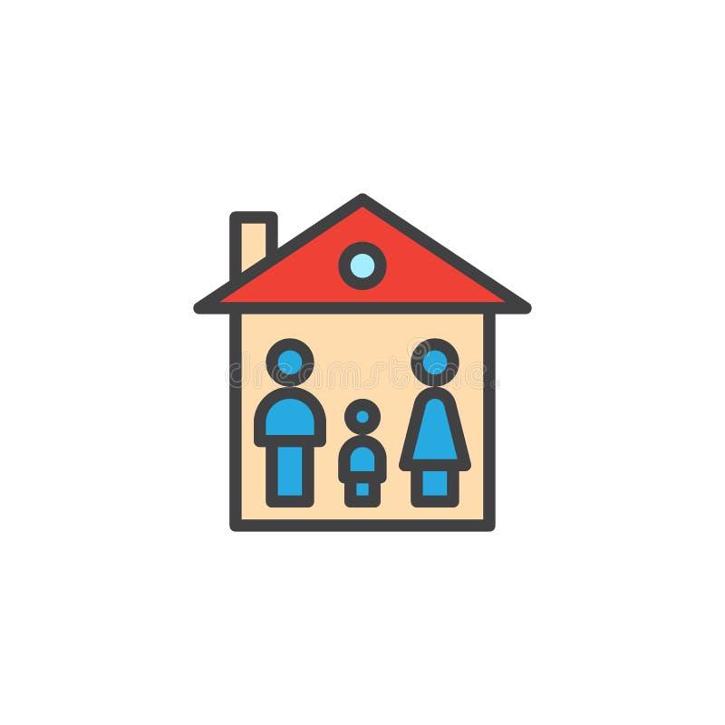 Rodzina konturu dom wypełniająca ikona royalty ilustracja