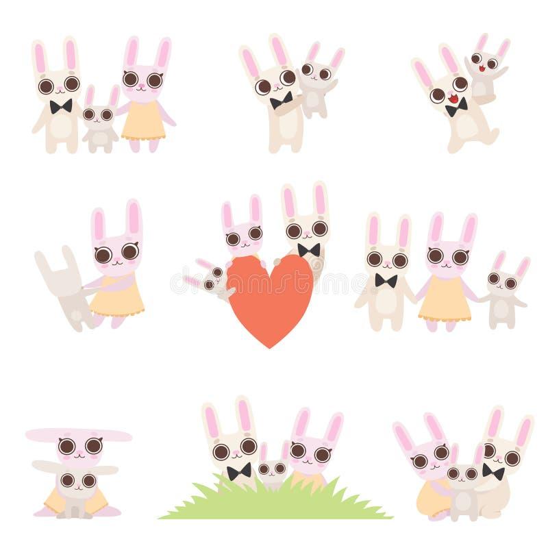 Rodzina królików sety, ojca, matki i dziecka króliki Wydaje czas Wpólnie, Śliczni kreskówek zając charaktery Wektorowi ilustracja wektor