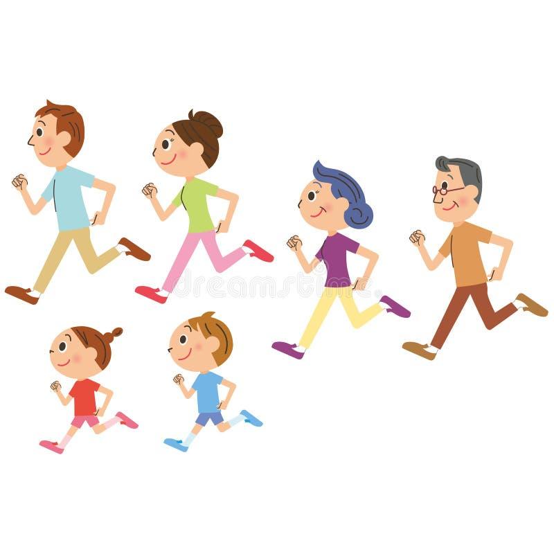 Rodzina który, bieg royalty ilustracja