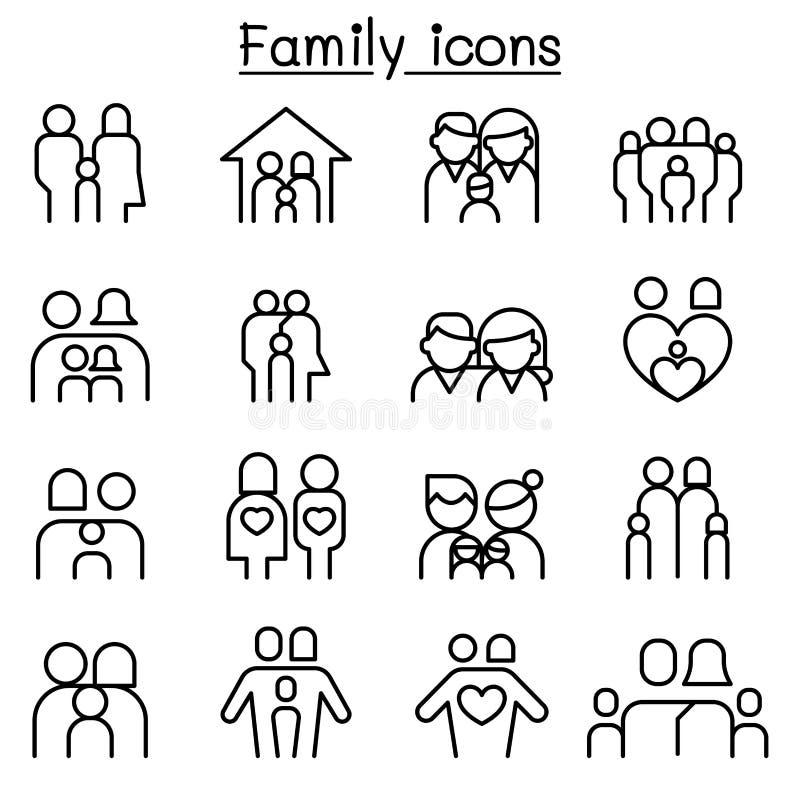 Rodzina & ludzie ikony ustawiającej w cienkim kreskowym stylu ilustracji
