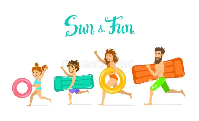 Rodzina, mężczyzna kobieta, rodzice i dzieci na lato czasu wakacje bieg na plaży, ilustracja wektor