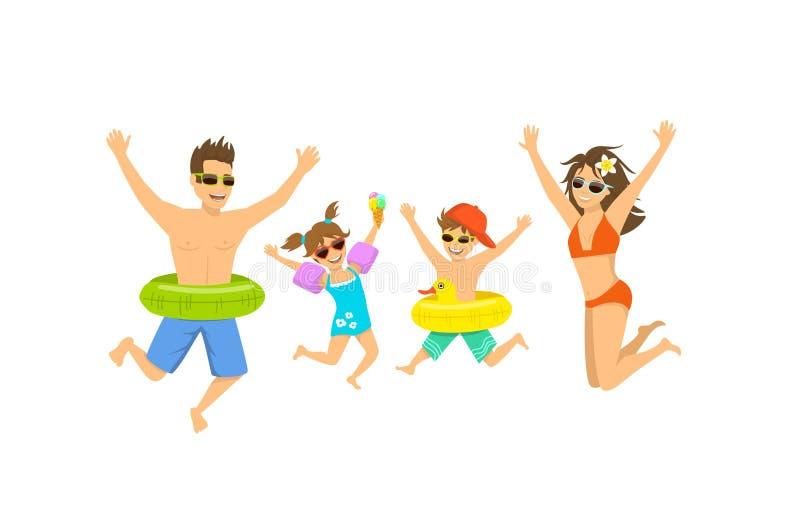 Rodzina, mężczyzna kobiety chłopiec dziewczyna, rodzic i ich dzieci skacze dla radości, szczęśliwy być na wakacjach royalty ilustracja