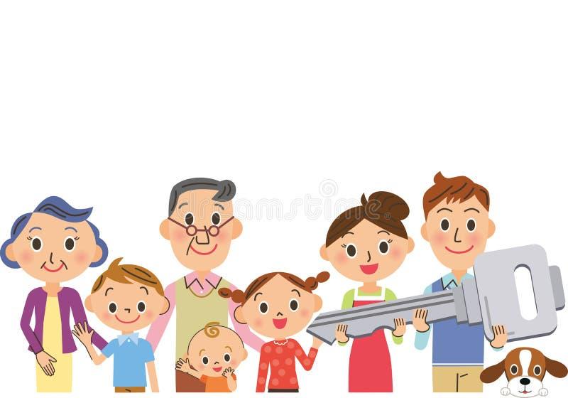 Rodzina ma klucz mieścić royalty ilustracja