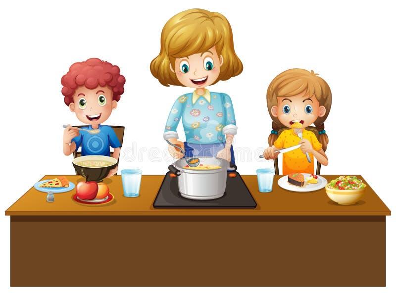 Rodzina ma posiłek przy stołem ilustracji
