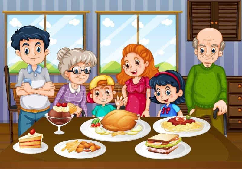 Rodzina ma posiłek w jadalni wpólnie royalty ilustracja