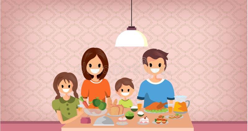 Rodzina ma posiłek wpólnie, kreskówka styl wektor royalty ilustracja