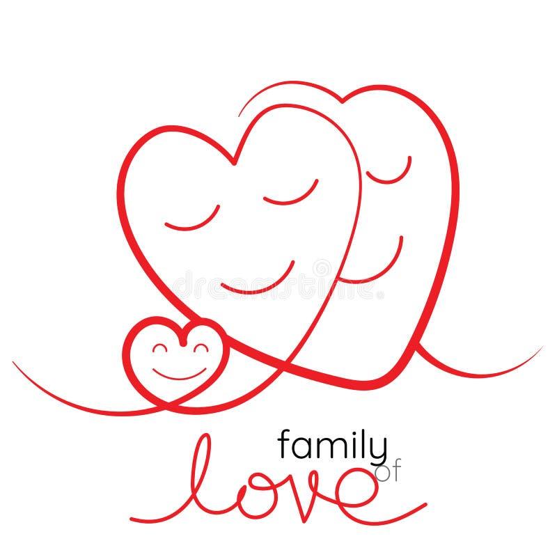 Rodzina miłość wektoru ilustracja Matka, ojciec i dziecko, ilustracja wektor