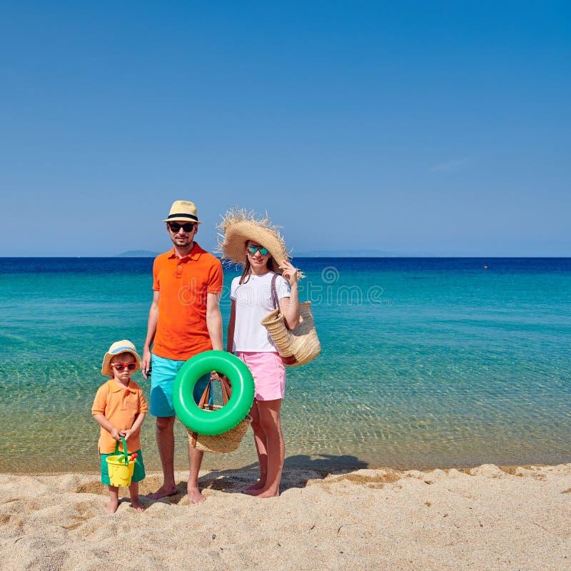 Rodzina na plaży w Grecja fotografia stock