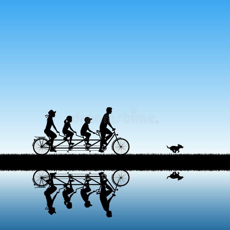 Rodzina na roweru tandemu w parku ilustracji