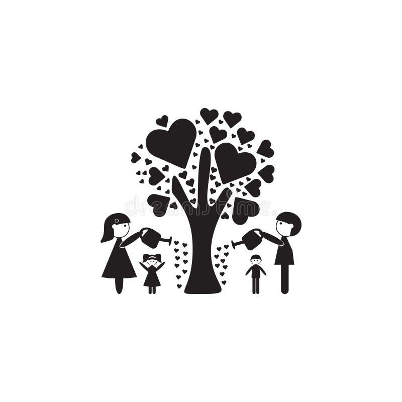 rodzina nawadniał drzewa miłości ikona Ilustracja wartości rodzinnej ikona Premii ilości graficzny projekt Znaki ic i symbole ilustracji