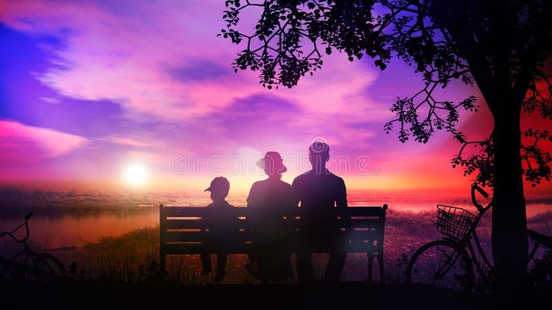 Rodzina odpoczywa na ławce pod drzewem i ogląda zmierzch nad rzeką zdjęcia stock