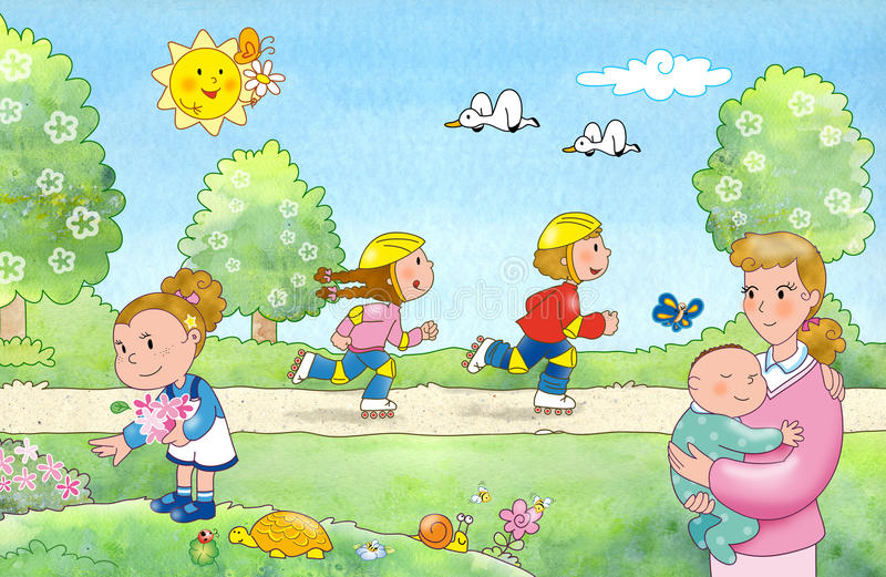 Download Rodzina park ilustracja wektor. Obraz złożonej z przyjaciele - 14749733