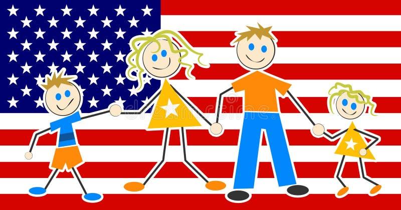 Download Rodzina patriotyczna ilustracja wektor. Ilustracja złożonej z amerykanin - 41666