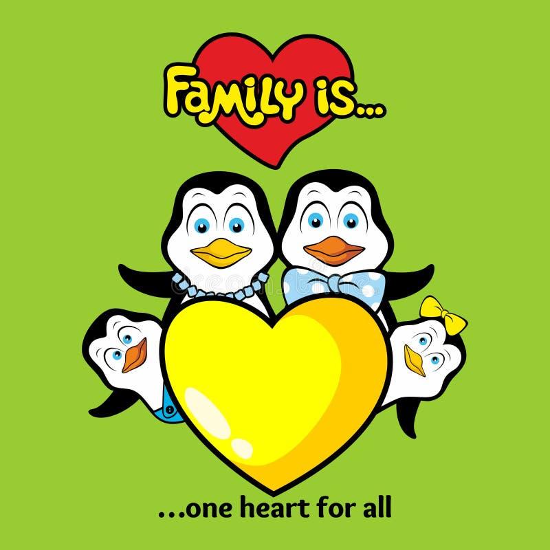 Rodzina pingwiny jednoczy jeden miłością each inny i sercem ilustracja wektor