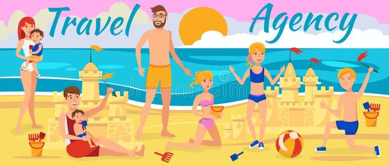 rodzina plażowa grać w piasku Odpoczynek na morzu royalty ilustracja