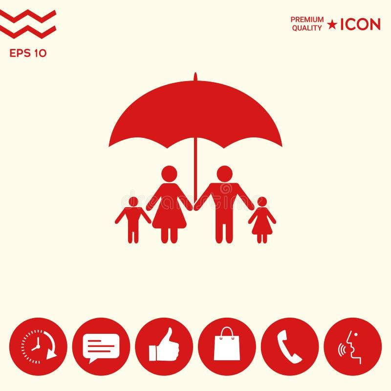 Rodzina pod parasolem - Rodzinna gacenie ikona royalty ilustracja
