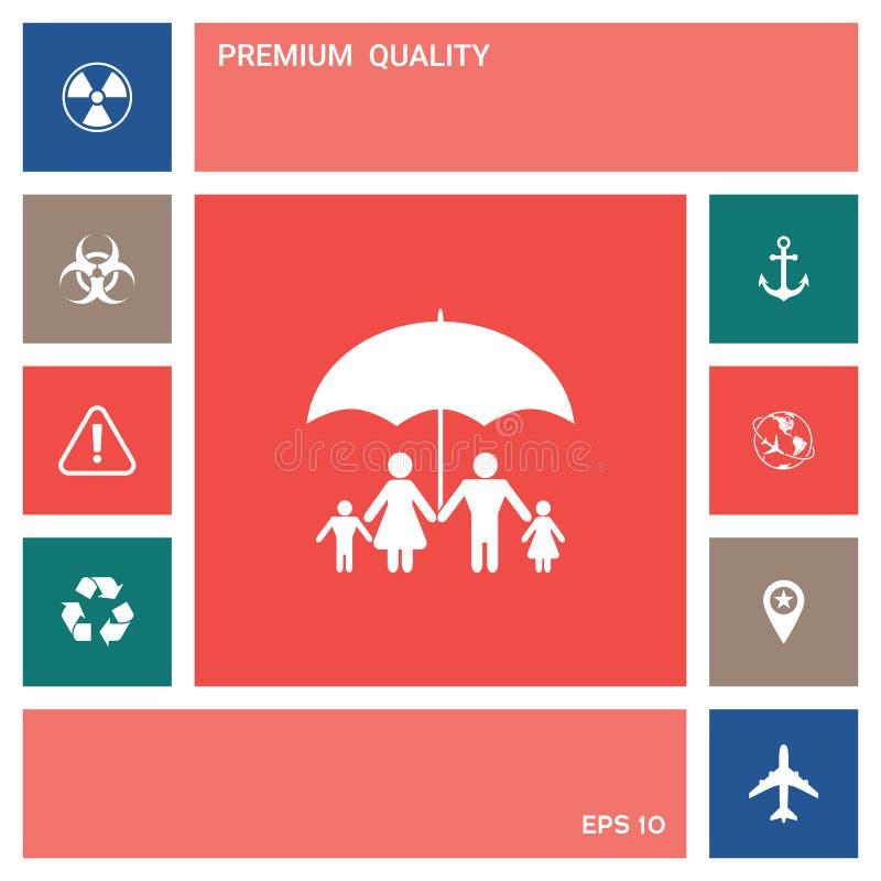 Rodzina pod parasolem - Rodzinna gacenie ikona elementy projektów galerii ikony widzą odwiedzić twój więcej moich piktogramy pros royalty ilustracja
