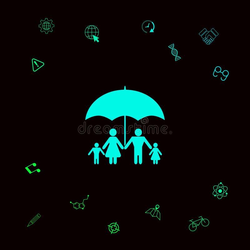 Rodzina pod parasolem - Rodzinna gacenie ikona Graficzni elementy dla twój designt royalty ilustracja