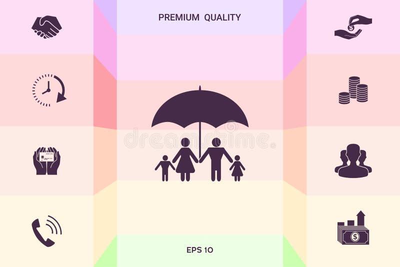 Rodzina pod parasolem - Rodzinna gacenie ikona Graficzni elementy dla twój projekta ilustracji