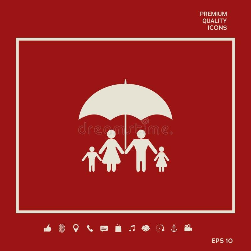 Rodzina pod parasolem - Rodzinna gacenie ikona Graficzni elementy dla twój projekta royalty ilustracja
