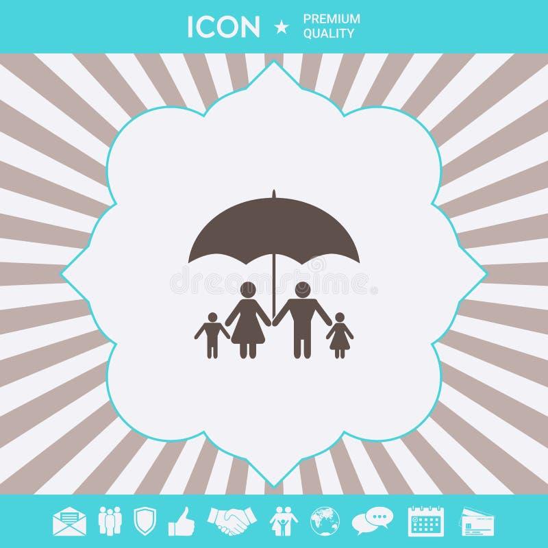 Rodzina pod parasolem - Rodzinna gacenie ikona Graficzni elementy dla tw?j projekta ilustracji