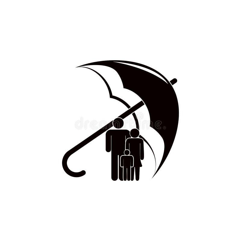 rodzina pod parasolową ikoną Elementy asekuracyjna ikona Premii ilości graficzny projekt Znaki i symbol inkasowa ikona dla w ilustracji