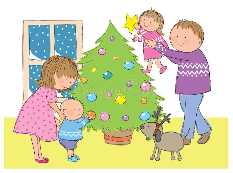 Rodzina przy bożymi narodzeniami ilustracja wektor