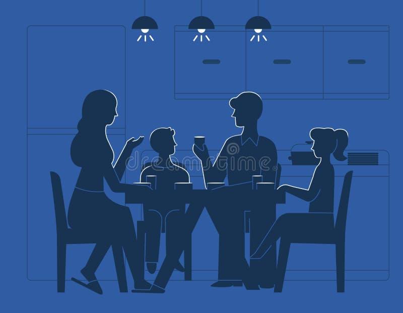 Rodzina przy obiadowego stołu wektoru ilustracją royalty ilustracja