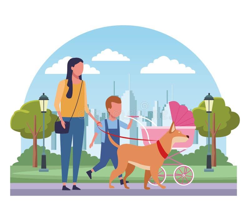 Rodzina przy parkowymi kreskówkami ilustracja wektor
