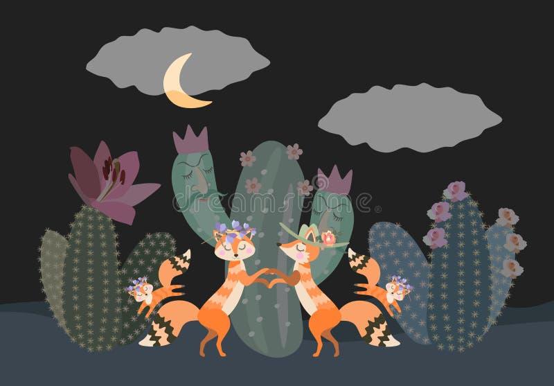 Rodzina pustynni lisy chodzi przy noc? w?r?d kaktus?w ?liczni kresk?wek zwierz?ta, ro?liny i ilustracja wektor