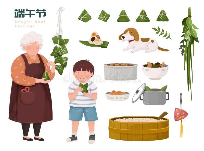 Rodzina robi ryżowym kluchom royalty ilustracja
