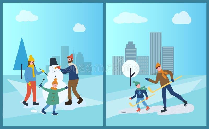 Rodzina Sculpts bałwanu od śniegu w zima parku royalty ilustracja