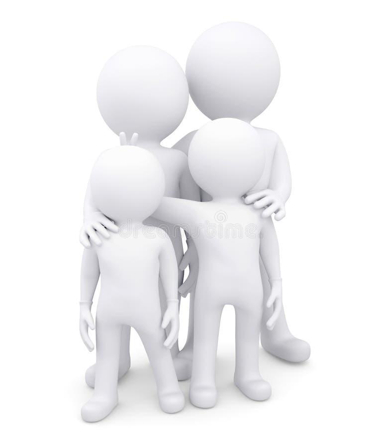 Rodzina składająca się z czterech osób biali człowiecy ilustracja wektor
