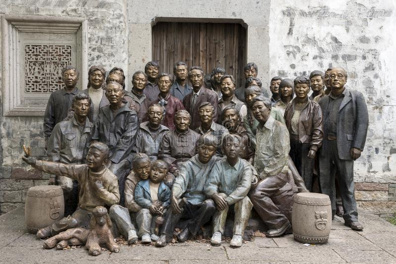 Rodzina składająca się z czterech osób pokoleń wpólnie fotografia obrazy stock