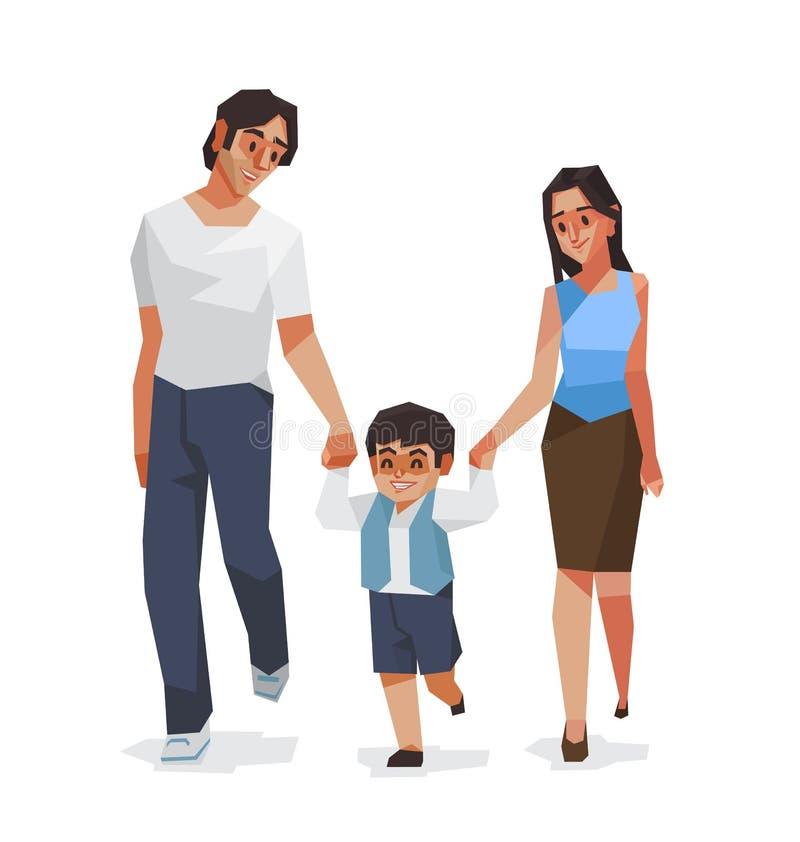 Rodzina, tata syn i Wektorowa ilustracja mama, ilustracji