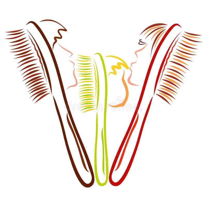 Rodzina toothbrushes, gręple, tata, mama lub dziecko, ilustracji