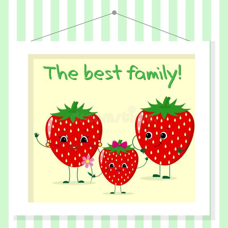 Rodzina truskawek smileys, mama, tata i dzieciak w kreskówce, projektujemy Obrazujący w obrazie który wiesza na pasiastej ścianie ilustracji