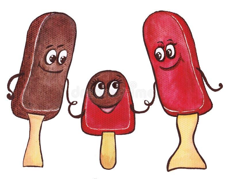 Rodzina trzy lody ilustracji