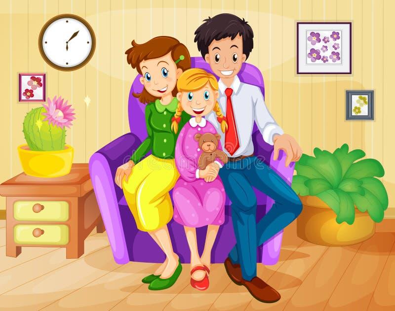 Rodzina wśrodku domu ilustracji