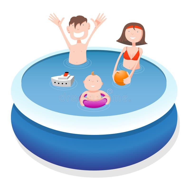 Rodzina w basenie ilustracji
