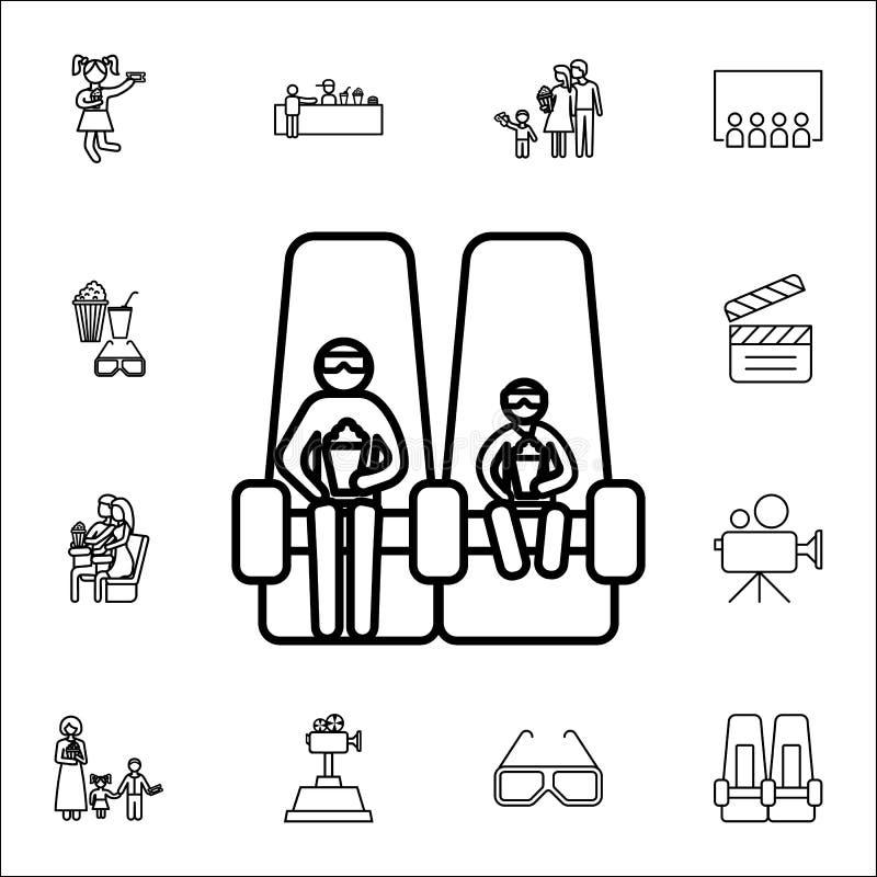 rodzina w 3d sesi ikonie Kinowy ikony ogólnoludzki ustawiający dla sieci i wiszącej ozdoby ilustracji