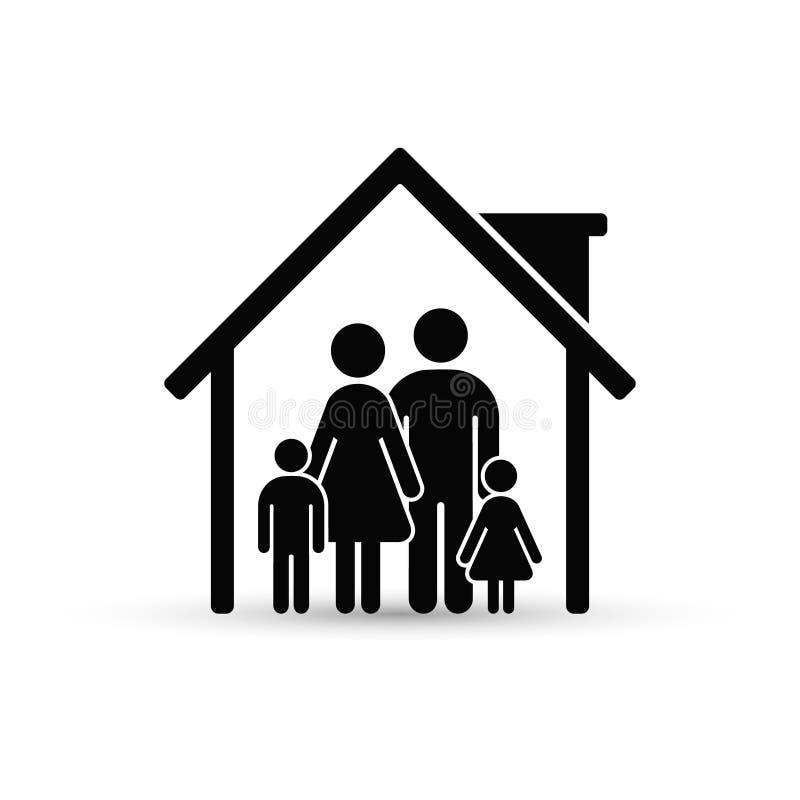 Rodzina w Domowej ikonie Wektor odosobniona płaska ilustracja obrazy stock
